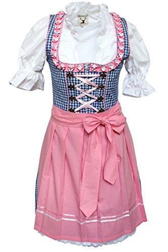 Alpenmrchen-3tlg-Dirndl-Set-Trachtenkleid-Bluse-Schrze-Gr32-46-trkis-fuchsia-0