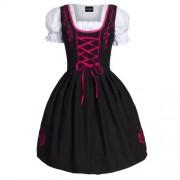 Dirndl-3-tlgTrachtenkleid-Kleid-Bluse-Schrze-Gr-34-52-schwarz-pink-0-0