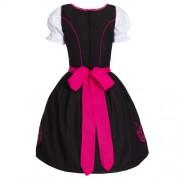 Dirndl-3-tlgTrachtenkleid-Kleid-Bluse-Schrze-Gr-34-52-schwarz-pink-0-1