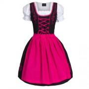 Dirndl-3-tlgTrachtenkleid-Kleid-Bluse-Schrze-Gr-34-52-schwarz-pink-0